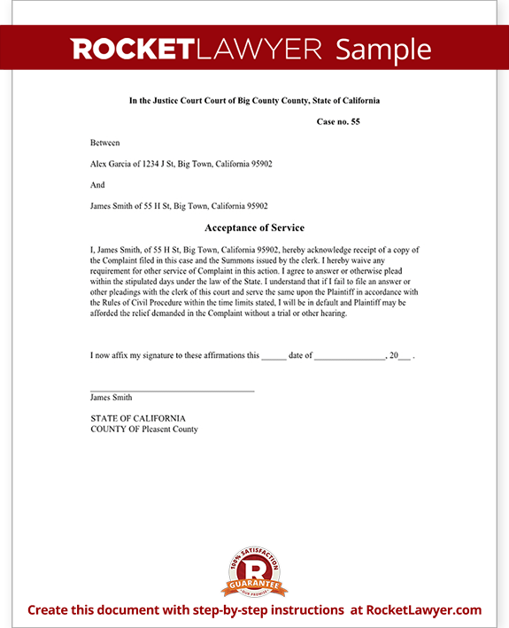 Sample Acceptance of Service Document Form Template