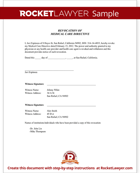 Sample Advance Health Care Directive - Revocation Form Template
