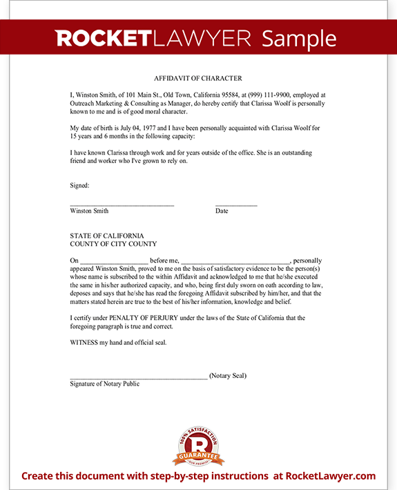 Sample Affidavit of Character Form Template