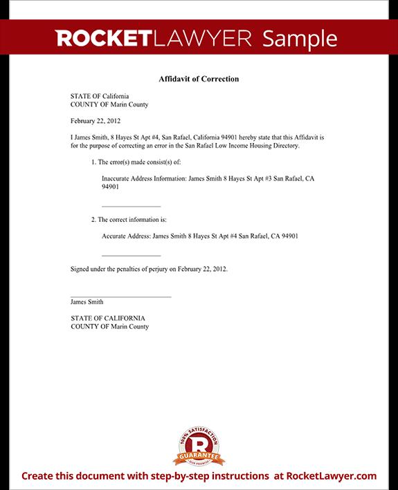 Sample Affidavit of Correction Form Template