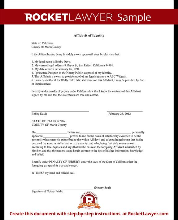 Sample Affidavit of Identity Form Template