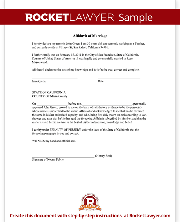 Sample Affidavit of Marriage Form Template