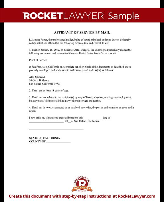 Sample Affidavit of Service Form Template