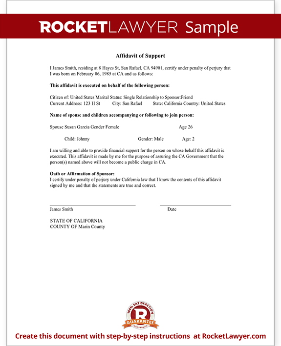 Sample Affidavit of Support Form Template