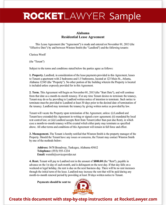 Sample Alabama Lease Agreement Form Template