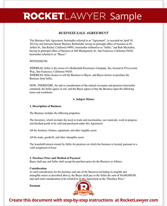 Sample Business Sale Agreement Form Template