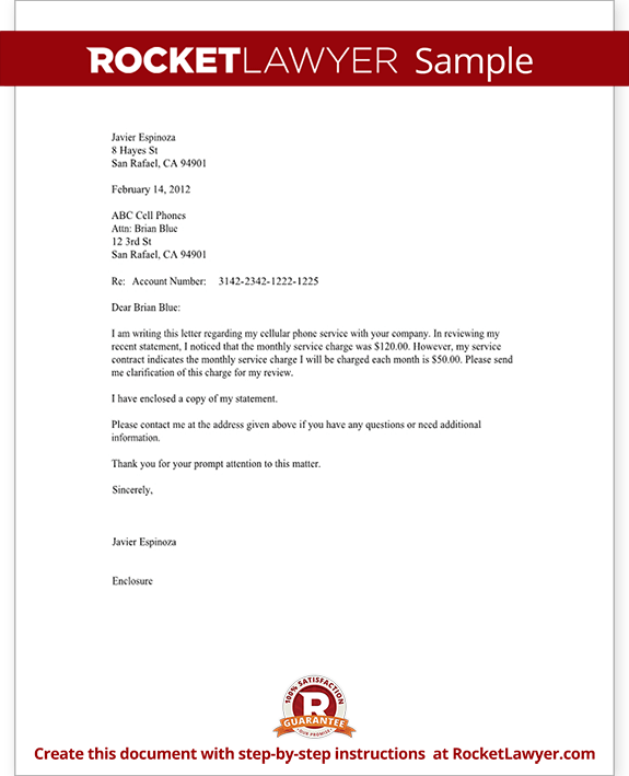 Sample Cell Phone Inquiry Letter Form Template