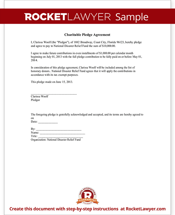 sponsorship pledge form template