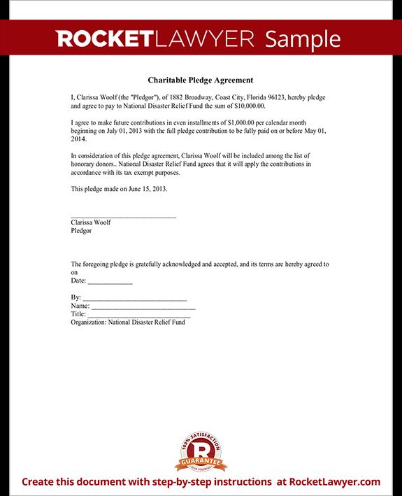 Sample Charitable Pledge Agreement Form Template