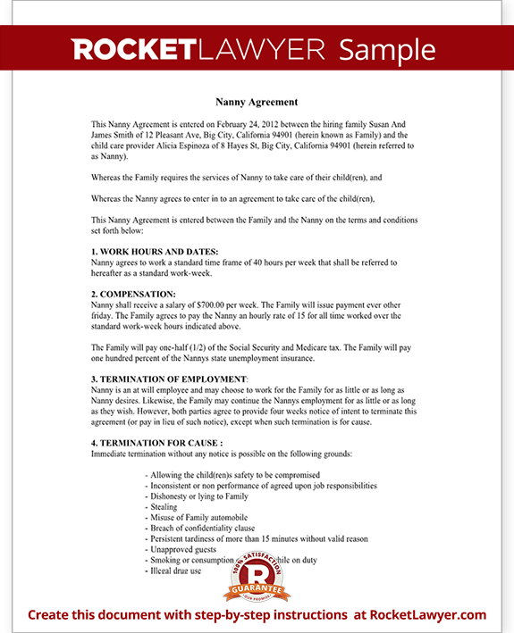 Sample Child Care Contract Form Template