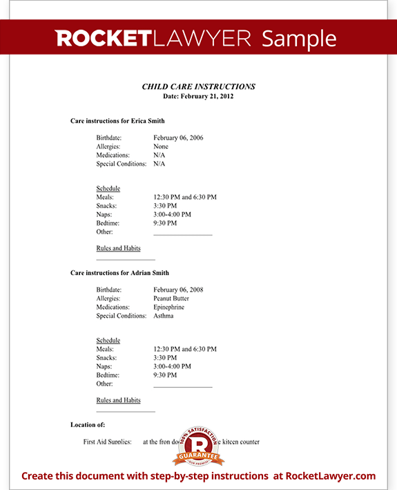 Sample Child Care Instructions Form Template