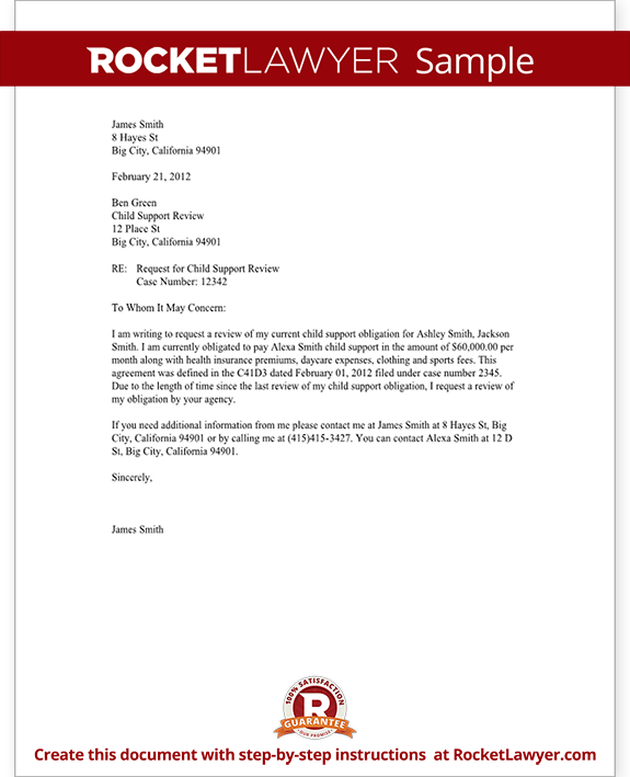 Sample Child Support Review Letter Form Template