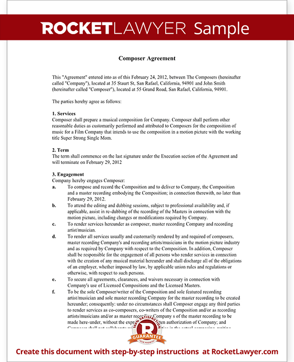 Sample Composer Agreement Form Template