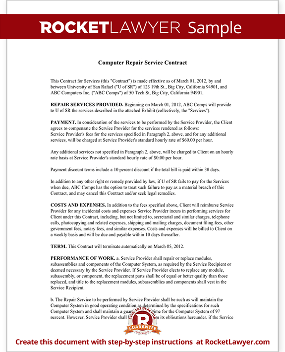 Sample Computer Service Contract Form Template