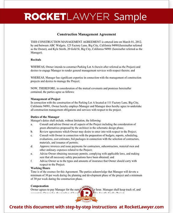 Sample Construction Management Agreement Form Template