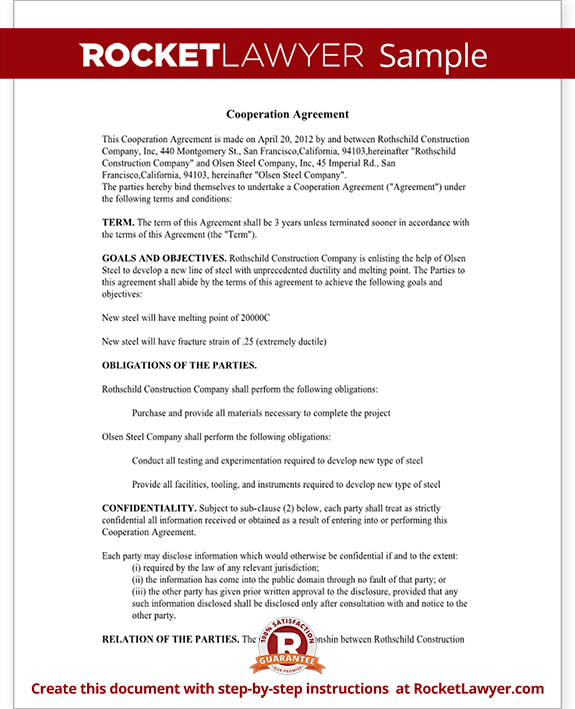 Sample Cooperation Agreement Form Template
