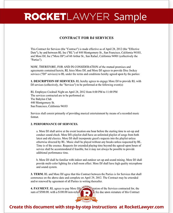 Sample DJ Contract Form Template