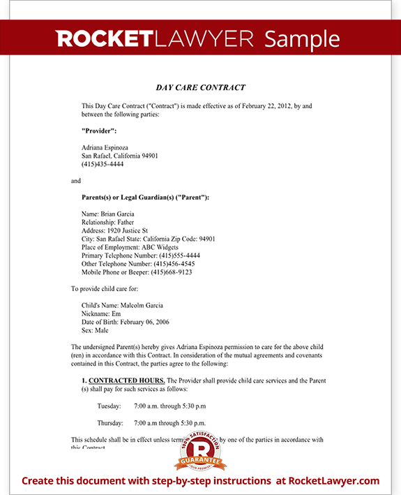 Sample Day Care Contract Form Template