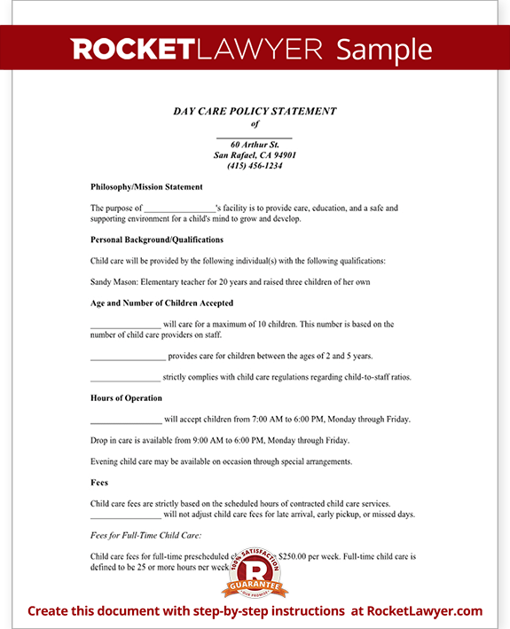 Sample Day Care Policy Statement Form Template