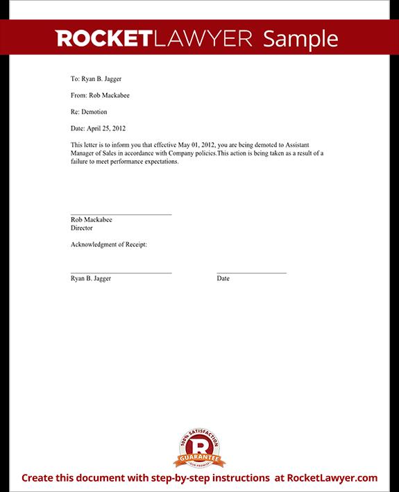 Sample Demotion Letter Form Template