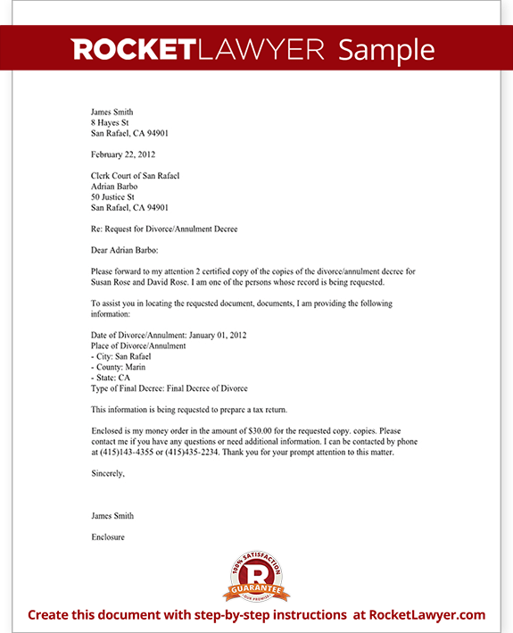 Sample Divorce Records Request Letter Form Template