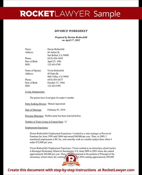 Sample Divorce Worksheet Form Template