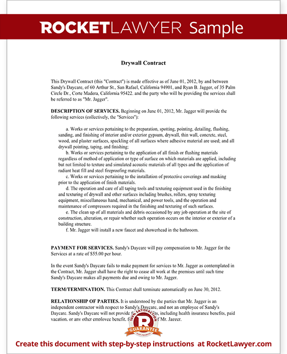 Sample Drywall Contract Form Template