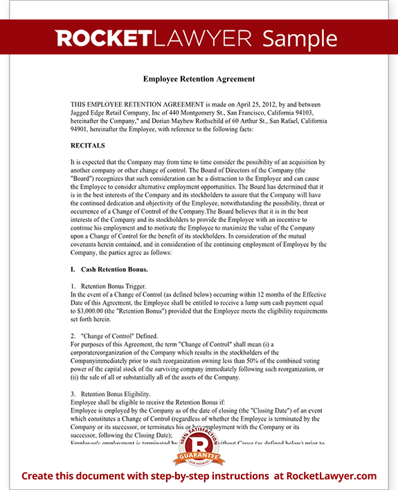 Sample Employee Retention Agreement Form Template