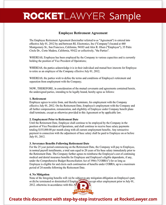 Sample Employee Retirement Agreement Form Template