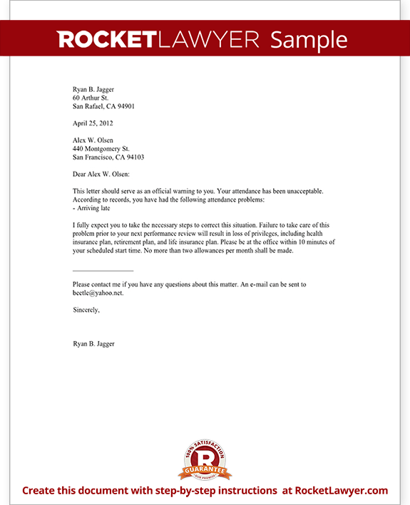 Employee Warning Letter - Warning Letter to Employee with Sample