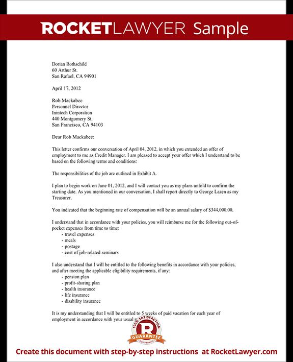 Sample Employment Acceptance Letter Form Template