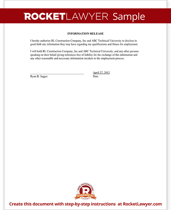 Sample Employment Information Release Form Template