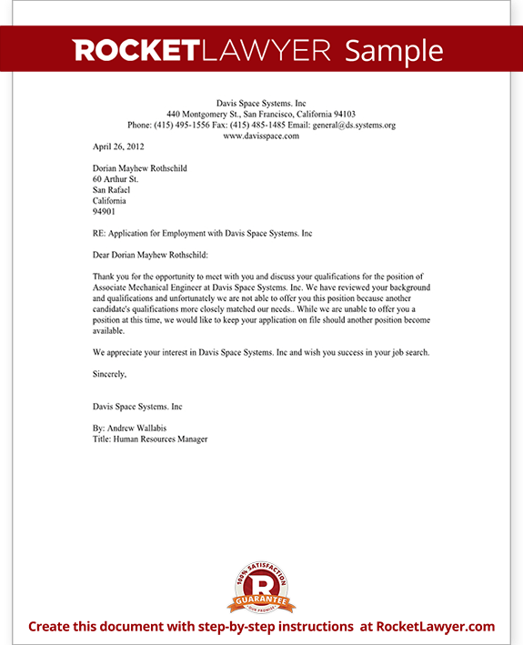 Sample Employment Rejection Letter Form Template