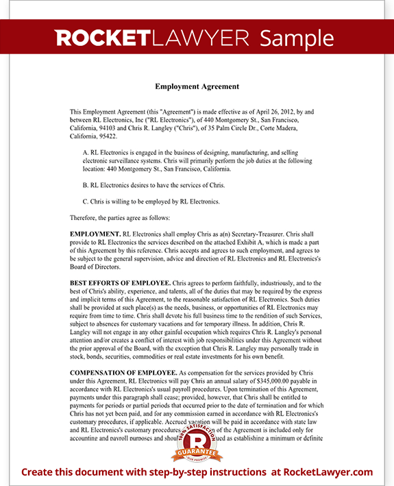 Sample Executive Employment Agreement Form Template