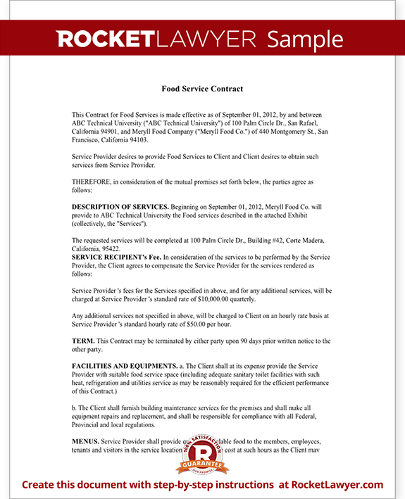 Sample Food Service Contract Form Template