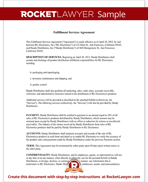 Sample Fulfillment Services Agreement Form Template