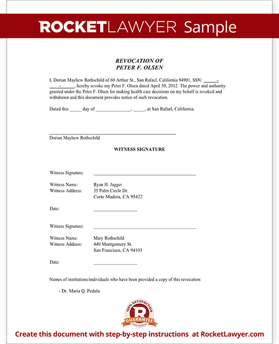 Sample Healthcare Power of Attorney - Revocation Form Template