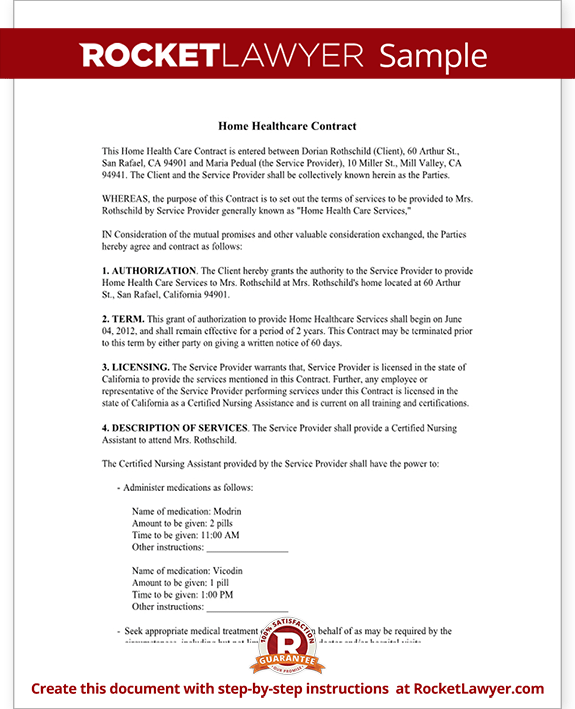 Sample Home Health Care Contract Form Template