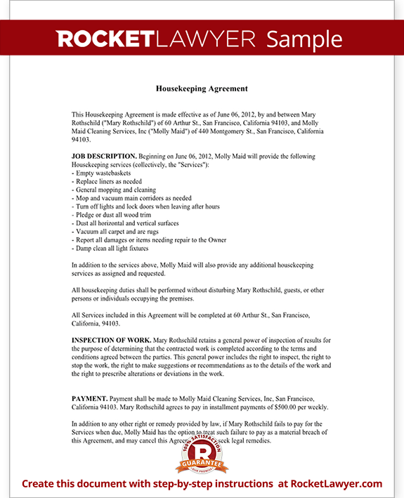 Sample Housekeeping Agreement