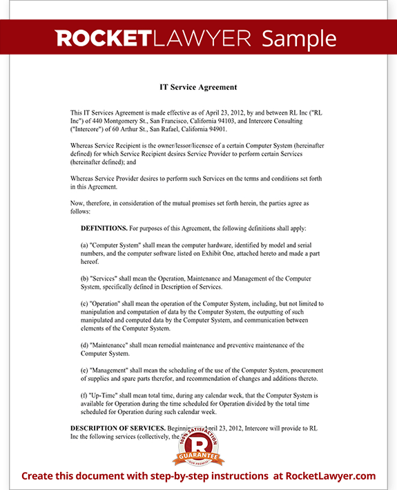 Sample IT Service Agreement Form Template
