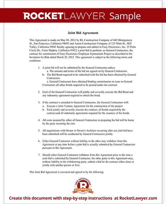 Sample Joint Bid Agreement Form Template
