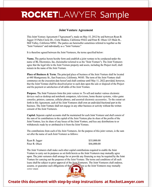 Sample Joint Venture Agreement Form Template