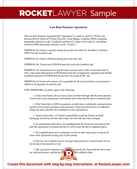 Sample Late Rent Payment Agreement Form Template