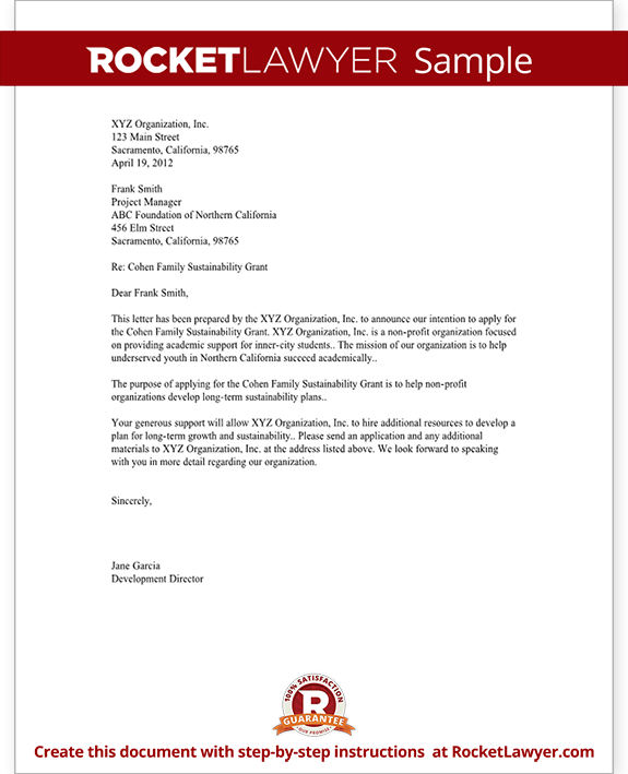Sample Letter of Intent for Grant for Non-Profit Form Template