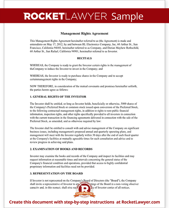 Sample Management Rights Agreement Form Template