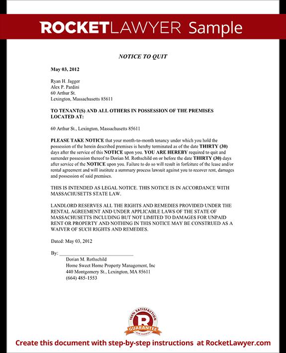Sample Massachusetts Eviction Notice Form Template