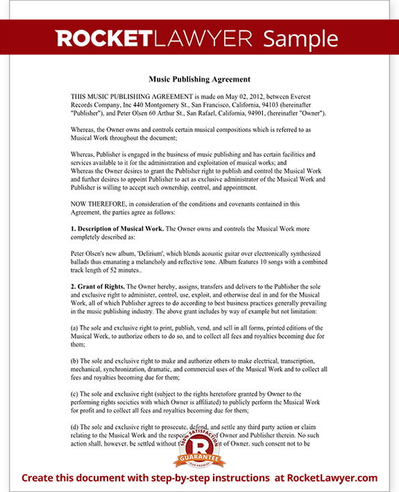 Music Publishing Agreement Form Template