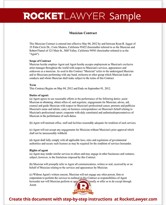 musicians contract template - musician contract music agent contract template with
