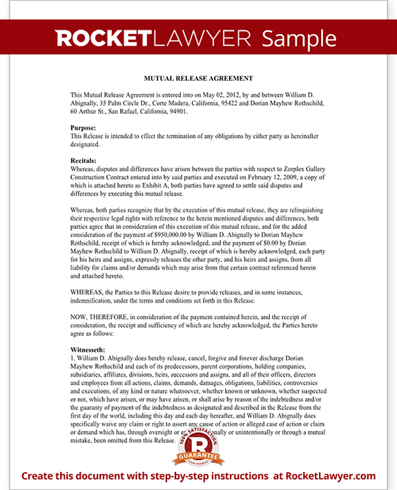 Sample Mutual Release Agreement Form Template