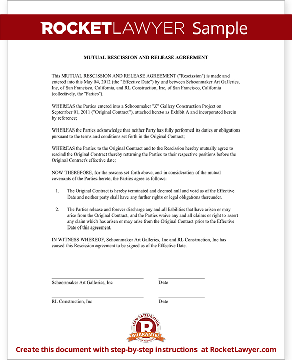 Sample Mutual Rescission and Release Agreement Form Template